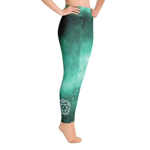 Pantalon de Yoga céleste vert avec quatrième symbole symbole quatrième du chakra du cœur 2677cf