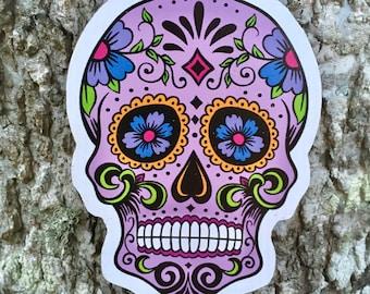 Day of the Dead Dios de la Muerte Skeleton Skull Bones Color Sugarskull Floral Holiday Purple Calavera Mexican Handmade Vinyl Magnet