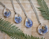 Forget Me Not Blooms Real Flower Blossoms Botanical Resin Pressed Necklace Wire Wrapped Pendant Blue Petals September Birth Flower Terrarium
