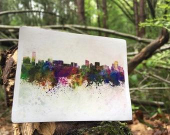 Grand Rapids Watercolor City Skyline River Reflection Splash Splatter Art Color Paint Rainbow Michigan Mitten GRapids Beer City Vinyl Magnet