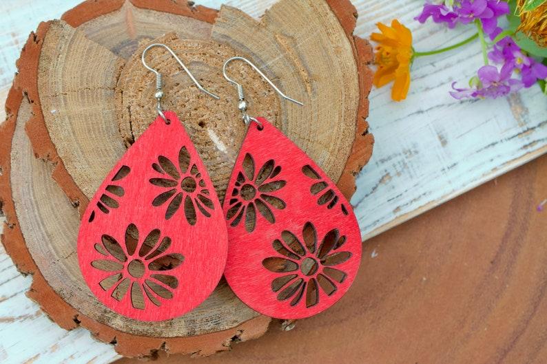 Wooden Teardrop Flower Petal Red Lasercut Wood Natural Filigree Cutout Lightweight Summer Boho Earrings Metal Earwires Cherry Bright