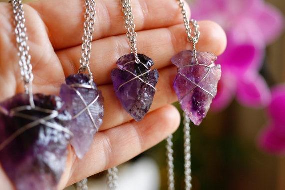 Charm Gems Amethyst Hexagonal Prism Copper Snake Wrap Pendant For Necklace