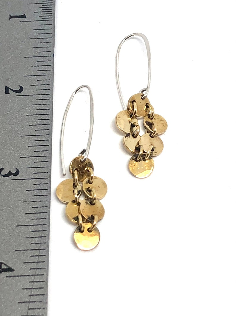 Lin Hall Jewelry Delicate Gold Brass tiny disc dangles earrings handmade