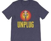 Unplug - Vintage Style Banjo Headstock & Sun Graphic Design Short-Sleeve Unisex T-Shirt