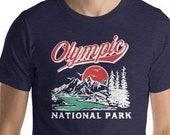 Retro Olympic National PArk Vintage Mountains and Trees Outdoor Short-Sleeve Unisex T-Shirt