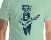 Funny Cat Headed Guitar Player Retro Bluegrass Short-Sleeve Unisex T-Shirt
