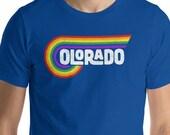 Retro Colorado Eighties 80s Style Rainbow Lettering Short-Sleeve Unisex T-Shirt