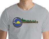 Oregon Flag (beaver side) Banjo & Trees Bluegrass Music Short-Sleeve Unisex T-Shirt