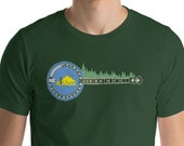 Oregon Flag Banjo & Trees Bluegrass Music Beaver Side Short-Sleeve Unisex T-Shirt