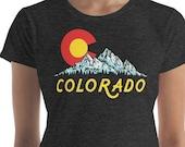 Retro Style Colorado Flag Mountains & Sun Design Women's short sleeve t-shirt