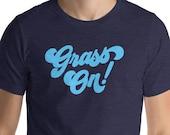 Grass On! Retro Script Bluegrass Music Fan Short-Sleeve Unisex T-Shirt