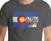 Retro Style Colorado Flag Bighorn Sheep Design Short-Sleeve Unisex T-Shirt