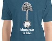 Bluegrass is Life! Banjo & Tree Vintage Style Illustration Bluegrass Graphic Short-Sleeve Unisex T-Shirt