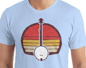 Retro Banjo T-Shirt - Distressed Bluegrass Pickers Short-Sleeve Unisex T-Shirt