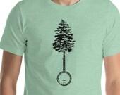 Banjo & Tree Vintage Style Illustration Bluegrass Graphic Short-Sleeve Unisex T-Shirt