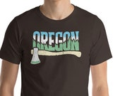 Oregon Ax & Trees - Distressed Outdoors Design Short-Sleeve Unisex T-Shirt