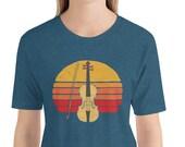 Vintage Style Fiddle / Violin & Sun Graphic Design Short-Sleeve Unisex T-Shirt