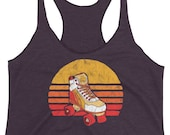Retro Roller Skate - Vintage Rollerskating  Women's Racerback Tank
