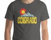 Colorado Flag Design Mountains & Sun Short-Sleeve Unisex T-Shirt