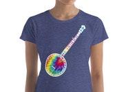 Sweet Tie Dyed Retro Banjo Design Graphic Bluegrass Women's short sleeve t-shirt
