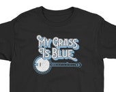 My Grass Is Blue! Vintage Style Lettering & Banjo Bluegrass Graphic Design Youth Short Sleeve T-Shirt