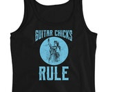 Guitar Chicks Rule! Funny Vintage Guitar Playing Lady Design Ladies' Tank