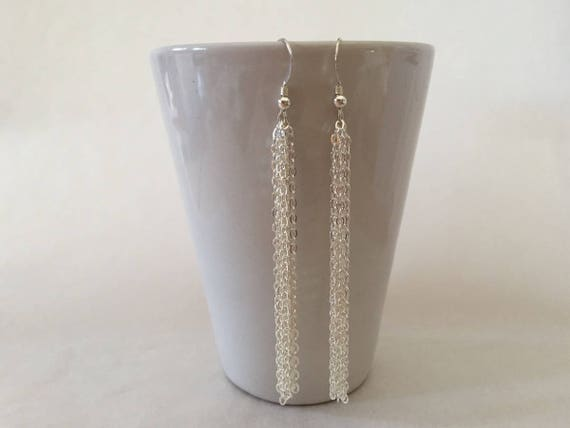 Schon 3 Sterling Silver Long Chain Drop Earrings Chain