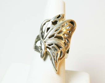 Silver Butterfly Wing Ring 7 Intricate