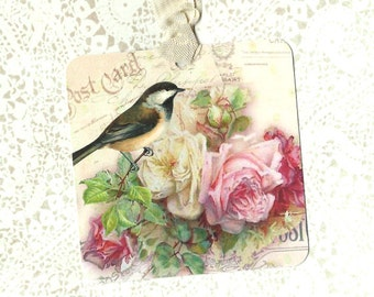 Gift Tags, Bird Tags, Bird Lover, Roses, Birthday Tags, Rose Tags