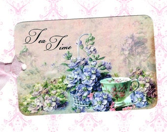 Gift Tags, Tea Time, Flower Tags, Party Favors, Tea Cup, Tags