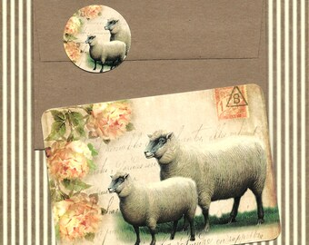 Note Cards, Farm House Style, Ewe, Sheep, Stationary, Gift Idea, Lamb