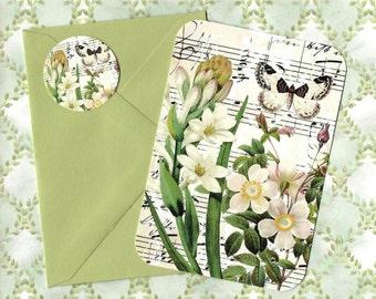 Flat Note Cards, Spring Florals, Vintage Style, Botanical, Flower Cards