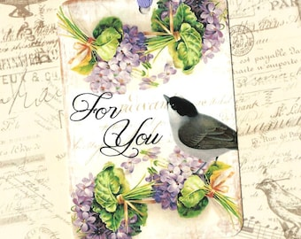 Gift Tags, For You, Violets, Bird Gift Tags, Violet Tags, Party Favors, Birthday Tags