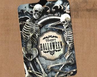 Halloween, Trick or Treat, Skull, Skeleton, Happy Halloween Tags, Skeleton Tags