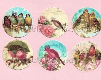 Stickers, Bird Stickers, Bird & Flowers, French Style Sticker Seals