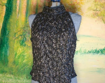 Sparkling Black Beaded Blouse