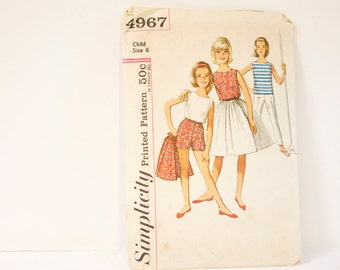 Vintage 1960s Child's  and Girl's Skirt, blouse, top and pants in two lengths Simplicity Pattern 4967 Size 6