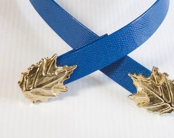 Vintage Women's Belt - Blue Belt with gold toned leaf buckle adjustable size XS/S