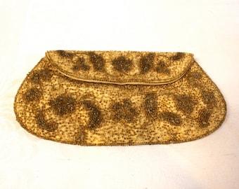 Evening Bag - Vintage 1960s Richere Gold beaded  Evening Clutch Purse