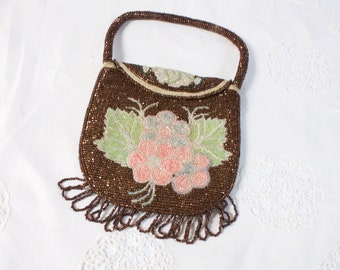 Antique 1880's Native American Beaded Purse, Chippewa beaded bag, antique beaded purse