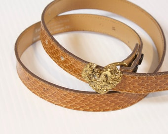 Vintage Brown Skinny Snakeskin Belt with brass heart buckle size small