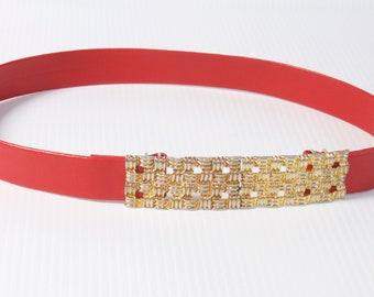 Vintage Women's Red Belt with gold toned buckle - Jeanne Bouchever belt