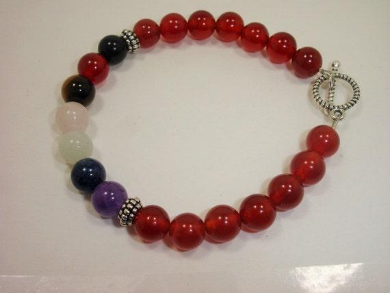 "Carnelian Polished Crystal Tumble Stone Bracelet 7.5"" Energy Courage Willpower"