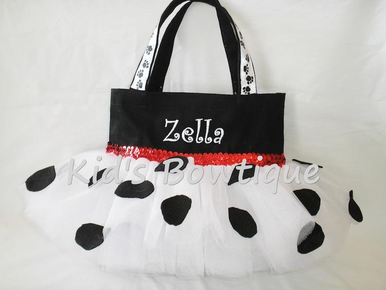 Dalmatian Dog Halloween Trick or Treat Monogrammed Tutu Tote Bag