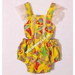 On sale!!Gold Fiesta lace romper with snaps. Southwestern celebration print.