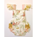 On sale! Cream floral lace romper. Rustic cake smash, pink and gold boho first birthday