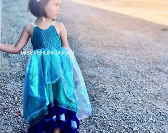 mermaid unicorn ruffle pastel bohemian layered boho flower girl rustic junior bridesmaid toddler maxi high low dress