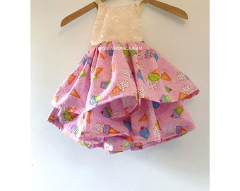 Ice cream and lace ruffle dress, candy, bohemian lace dress for girls, ready to ship
