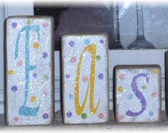 Easter Blocks Set of Six Wood Shelf Sitters Pastel Colors Polka Dots Glitter Custom