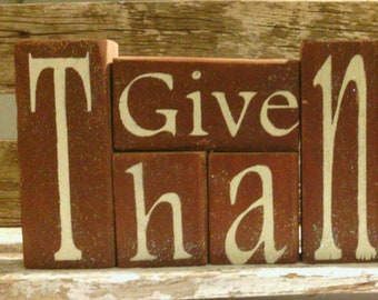 Give Thanks Wood Glitter Blocks Shelf Sitter Blocks Brown Thanksgiving Decoration Wood Glitter Blocks